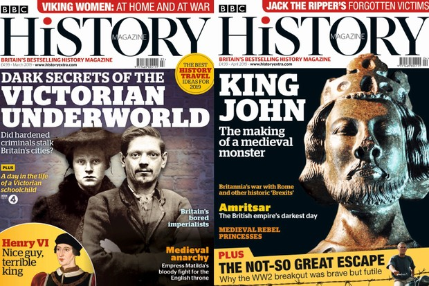 BBC History Magazine covers: March 2019 and April 2019.