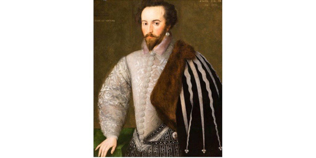A portrait of Sir Walter Ralegh, a favourite of Queen Elizabeth I, c1588. (Photo by ACTIVE MUSEUM / Alamy Stock Photo)