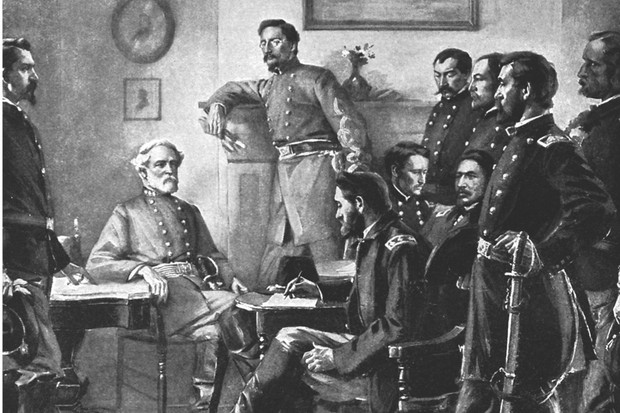 Robert E Lee (seated at the table, left) surrenders to Union commander Ulysses S Grant at Appomattox Court House. (Image by Alamy)