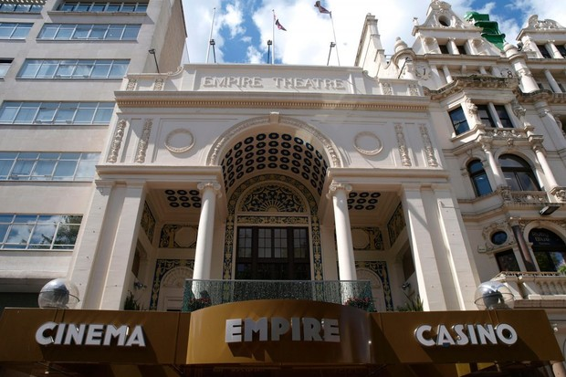 Empire Cinema and Casino, Leicester Square, London. It was originally a theatre and ballet venue, before reopening as a music hall in 1884. (Image by Alamy)