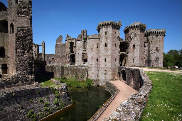 Raglan Castle, the childhood home of the first Tudor monarch, Henry VII. (Photo by International Photobank/Alamy Stock Photo)