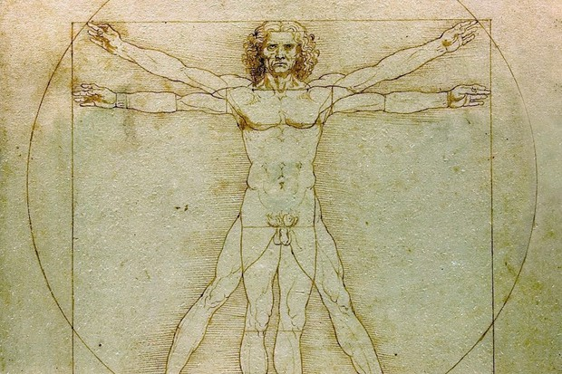 Da Vinci's sketch 'The Vitruvian Man'. Da Vinci's talents ranged from anatomy to military engineering, and many of his innovations were not explored further for several centuries. (Photo by: Photo12/UIG via Getty Images)