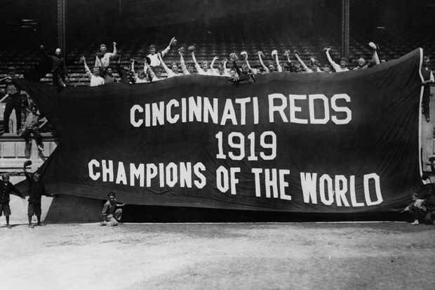 A banner celebrating the Cincinatti Reds' victory in the 1919 World Series. (Photo by FPG/Getty Images)