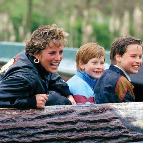 "Making a splash: Diana relishes taking her sons on a water ride at the Thorpe Park theme park in 1993. William has since recalled how his mother loved ""laughter and fun"". (Photo by Getty Images)"