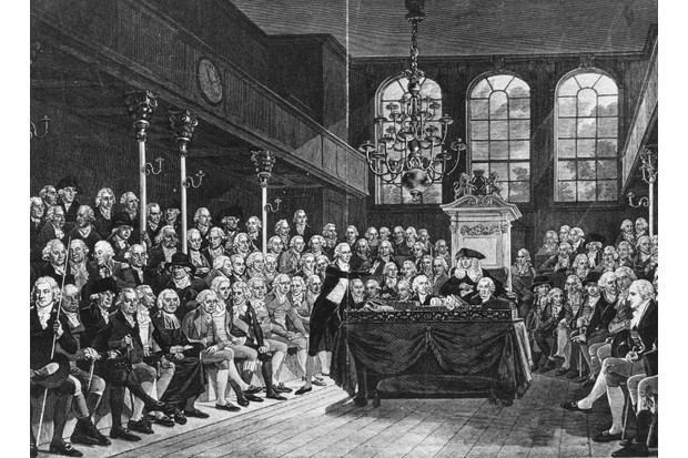 A painting of William Pitt the Younger speaking in the House of Commons. (Photo by Henry Guttmann Collection/Hulton Archive/Getty Images)