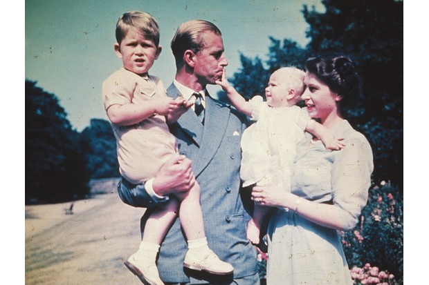 Prince Philip poses with the Queen, Charles (left) and Anne in 1951. He wasn't present for the births of either child. (Photo by Keystone/Getty Images)