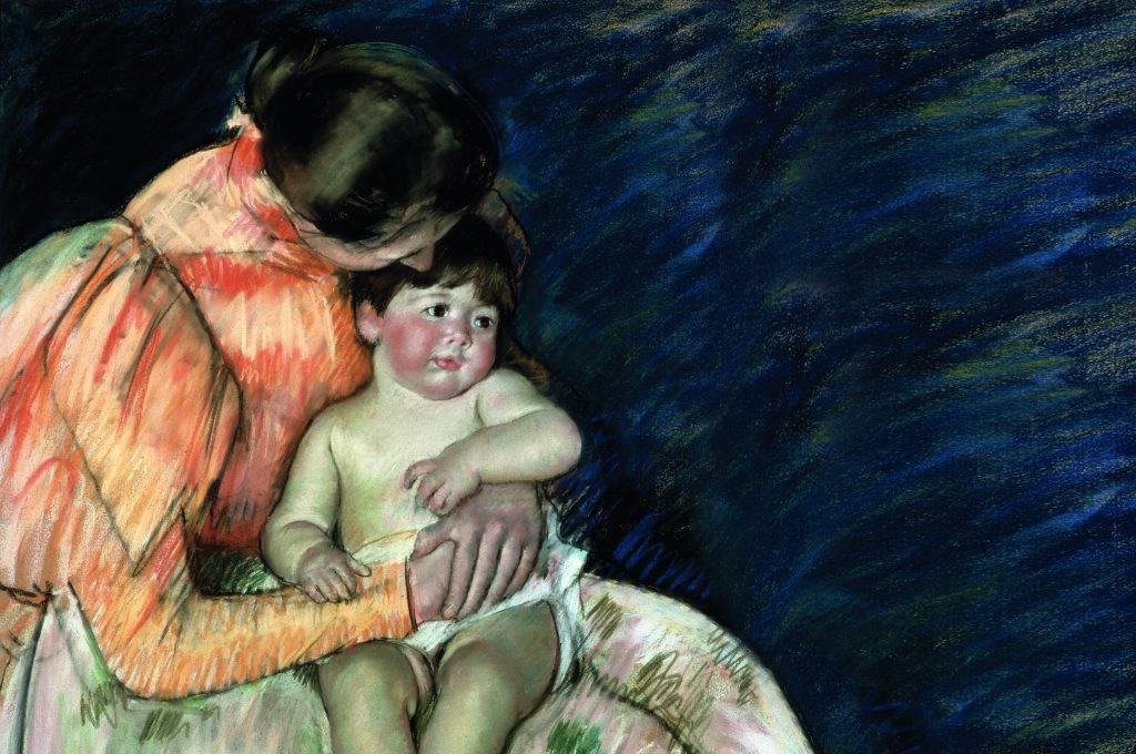 A late 19th or early 20th-century painting entitled 'Mother and Child'. As fertility rates fell, sentimental idealisations of mothers and babies developed. (Photo by Fine Art Images/Heritage Images/Getty Images)