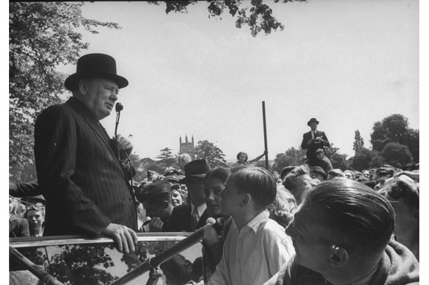 Winston Churchill making a speech during the 1945 election tour. (Photo by Ian Smith/The LIFE Picture Collection/Getty Images)