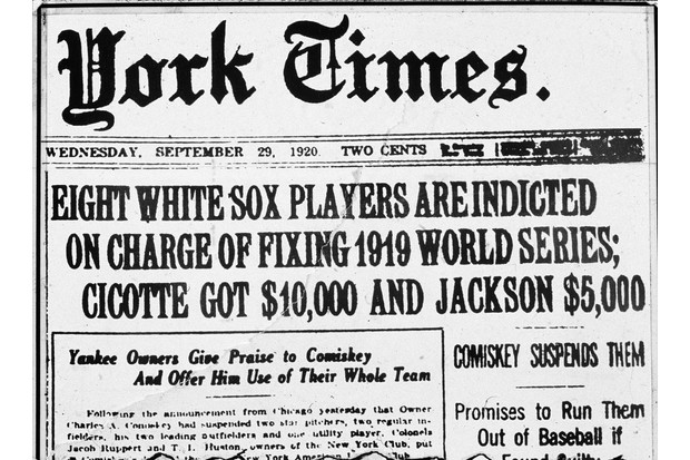 The front-page headline of the 'New York Times' describes the fallout from the 'Black Sox' scandal, September 1920. (Photo by New York Times Co./Getty Images)