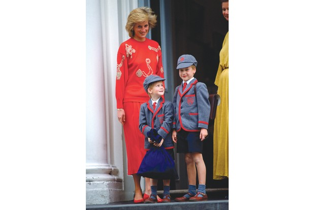 Diana drops Harry off for his first day at Wetherby School in 1989, along with his brother. The school was one she had selected. (Photo by Tim Graham/Getty Images)