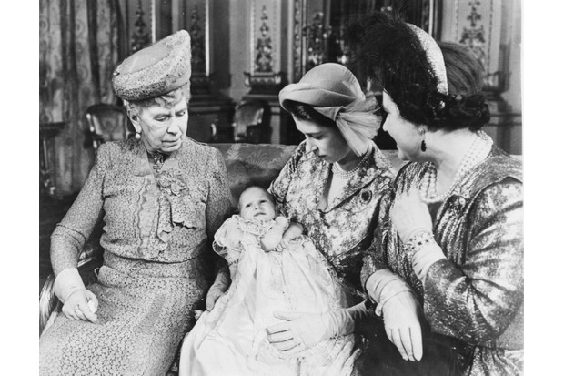 Princess Elizabeth holding her baby daughter, Princess Anne, with the grandmothers Queen Mary (left) and Queen Elizabeth. (Photo by Central Press/Hulton Archive/Getty Images)
