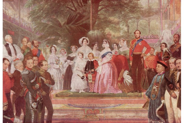 Queen Victoria, accompanied by Prince Albert and their children, opens the Great Exhibition in the Crystal Palace, Hyde Park, London, May 1851. (Photo by Hulton Archive/Getty Images)