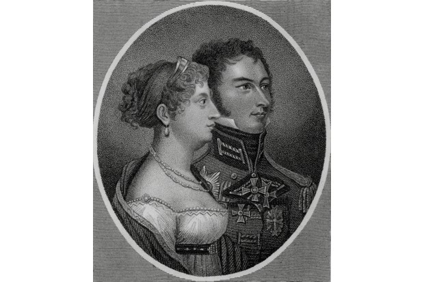 Princess Charlotte of Wales – the only child of George IV and Caroline of Brunswick – with her husband Leopold of Saxe-Coburg, later Leopold I of Belgium. She died in childbirth 1817. (Photo by Photo12/UIG via Getty Images)