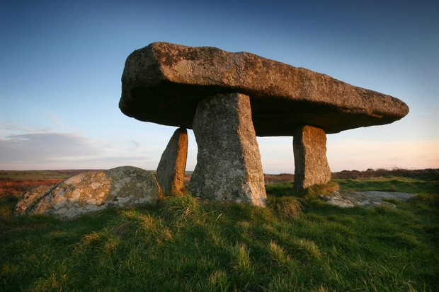 The west Cornish tomb Lanyon Quoit, which dates to the Neolithic period (3500–2500 BC). The Anglo-Saxons believed that ancient burial sites were cursed – and guarded by dragons. (Image by Dreamstime)