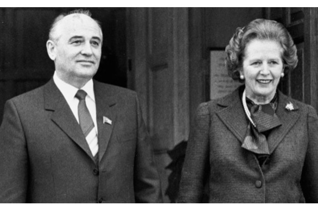 Thatcher with Gorbachev during his visit to the UK in December 1984. (Image © Corbis)