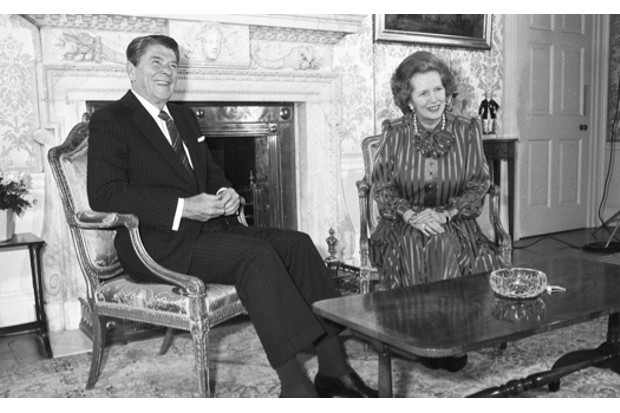 US president Ronald Reagan with Margaret Thatcher in 10 Downing Street, June 1984 (Image © Hulton Archive-Getty Images)