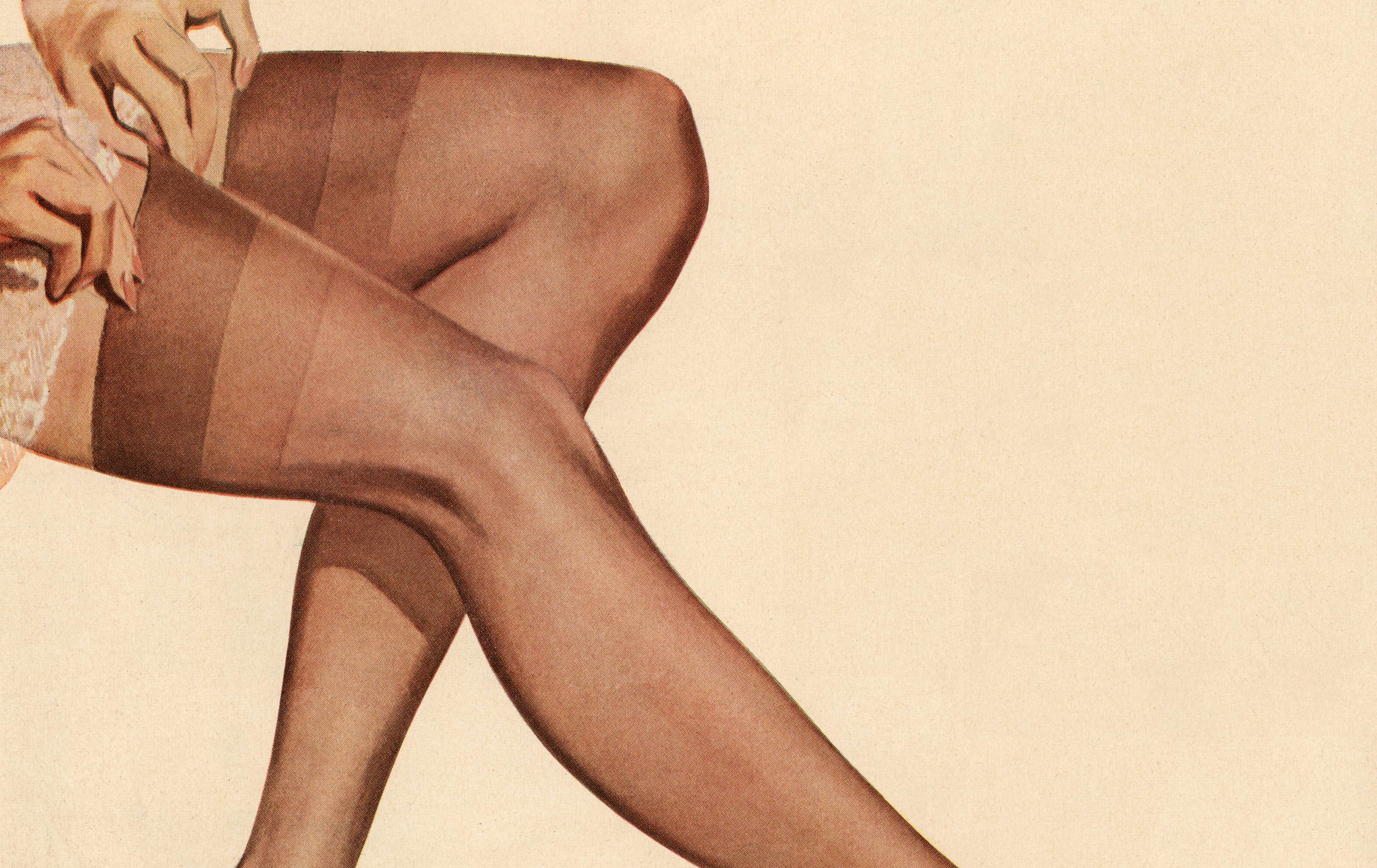 A 1954 illustration of a woman wearing nylons. Lightweight, easy to conceal and fiercely sought after, stockings were a favourite with smugglers. (Photo by Bridgeman)