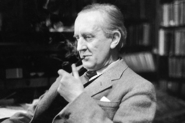Writer JRR Tolkien smokes a pipe