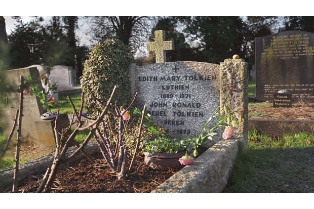 The gravestone of JRR Tolkien and his wife Edith