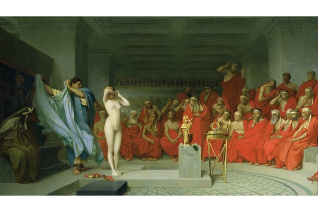 In another renowned trial on the Areopagus, the courtesan Phryne is said to have been disrobed to illicit the sympathy of the elders. (Photo by Fine Art Images/Heritage Images/Getty Images)