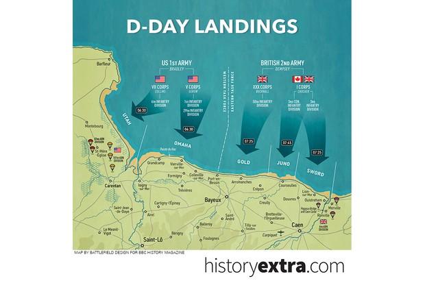 D-Day landing beaches map