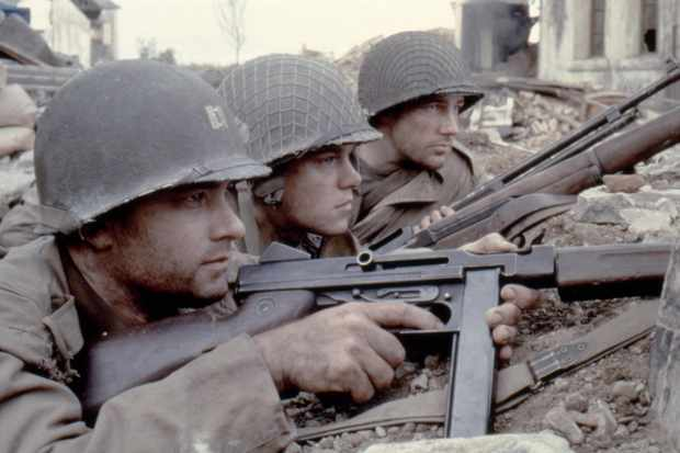 Tom Hanks, Matt Damon and Edward Burns in 'Saving Private Ryan' (1998), directed by Steven Spielberg. (Photo by Dreamworks LLC /Paramount Pictures)