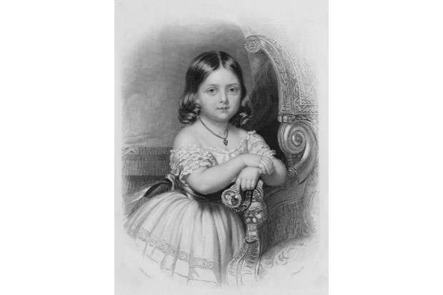 A c1924 portrait of the future Queen Victoria as a child, holding a miniature of her future husband, Prince Albert, set into a bracelet. An engraving by J Thomson after John Lucas. (Photo by Hulton Archive/Getty Images)