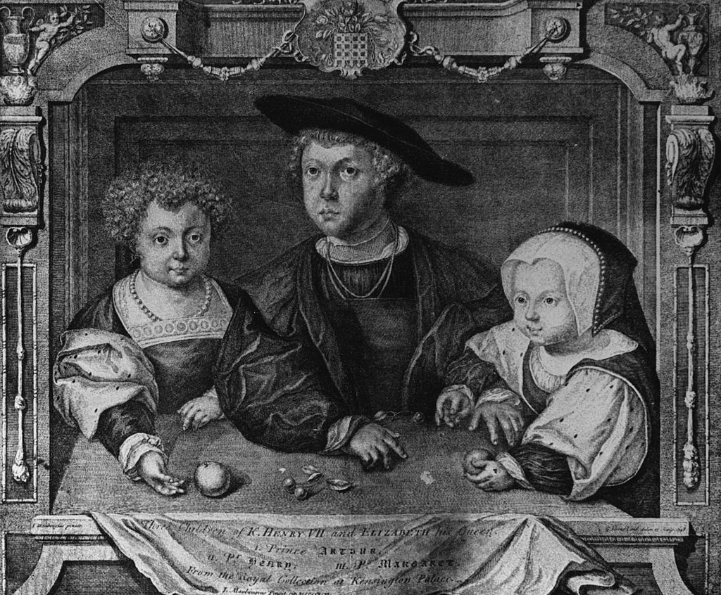 From left: Henry, Arthur and Margaret, the three children of Henry VII and Elizabeth of York. (Photo by Hulton Archive/Getty Images)