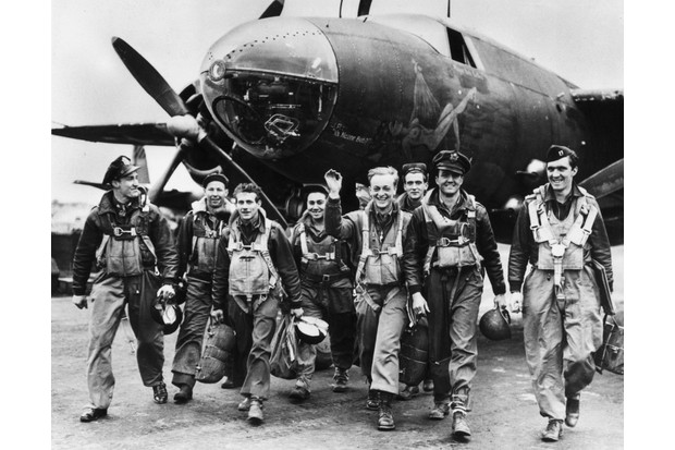 Bomber crews of the US Ninth Airforce leave their B26 Marauder aircraft after returning from a mission to support the D-Day landings in Normandy. (Photo by Fred Ramage/Keystone/Getty Images)
