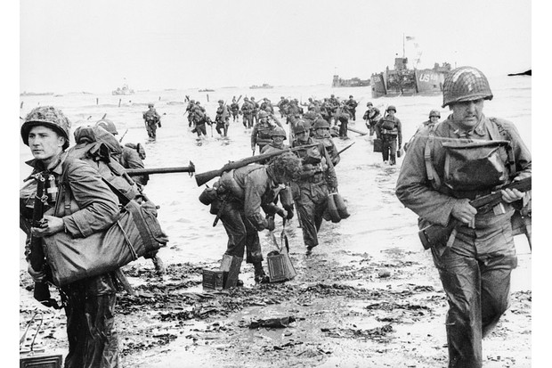 US assault troops land on the beach codenamed Omaha during the invasion of Normandy, aka Operation Overlord. (Photo by Keystone/Getty Images)