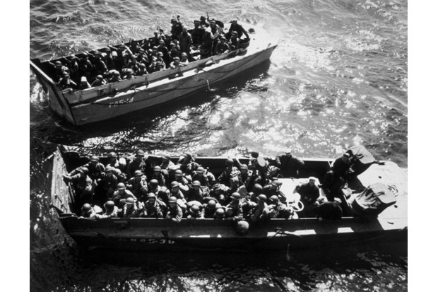 US troops in landing craft during the D-Day landings. (Photo by Keystone/Getty Images)