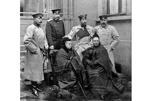 Queen Victoria pictured with members of her family. Kaiser Wilhelm II of Germany (third from left, back row) objected to being treated simply as the queen's grandson behind palace doors, instead of a fellow sovereign. (Photo by Hulton Archive/Getty Images)