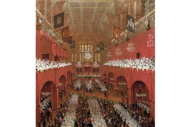 An interior view of the Guildhall, City of London, depicting a banquet that was held in honour of the visiting Tsar Alexander I of Russia and King Frederick William III of Prussia. (Photo by Guildhall Library& Art Gallery/Heritage Images/Getty Images)