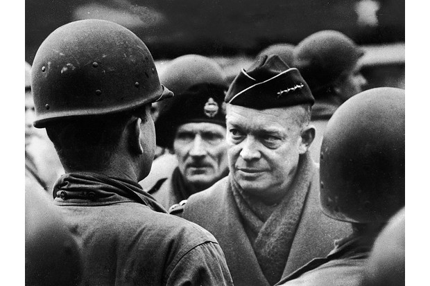 General Dwight Eisenhower reviews troops shortly before the Normandy invasion, British Army General Bernard Montgomery visible over his right shoulder. (Photo by Frank Scherschel/The LIFE Picture Collection/Getty Images)
