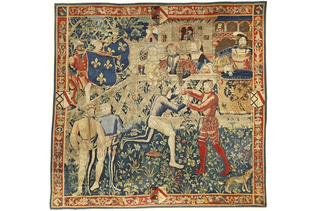 A tapestry depicts the meeting of King Henry VIII and King Francis I of France at the Field of the Cloth of Gold
