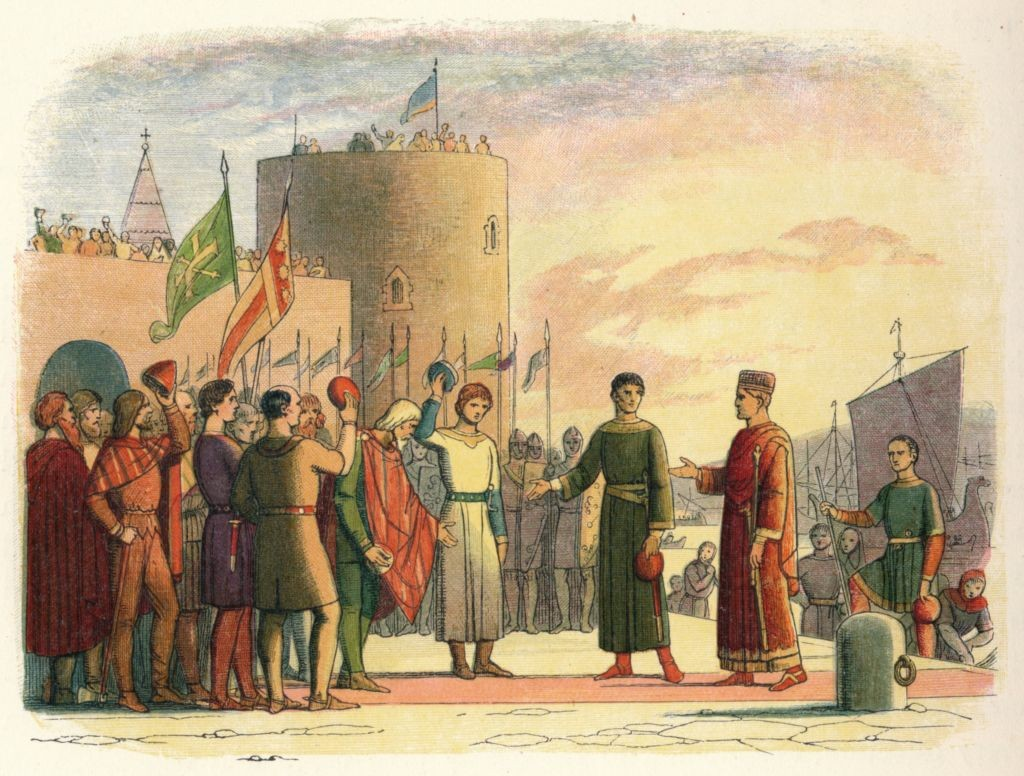 The Norman invasion of Ireland took place during the second half of the 12th century. This military intervention had the backing of King Henry II of England and was authorised by Pope Adrian IV. Here you can see Henry II landing at Waterford in 1171. (Photo by The Print Collector/Getty Images)
