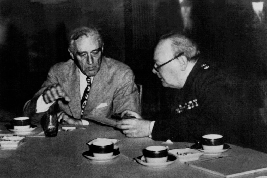 US President Franklin Delano Roosevelt and British prime minister Sir Winston Churchill, meeting during the Casablanca conference in 1943. (Photo by AFP/Getty Images)