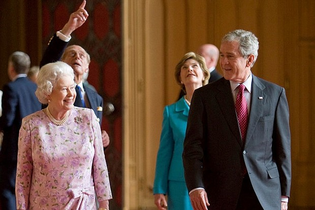 The first state visit by American President George W Bush in 2003 was highly controversial, attracting protesters opposed to the involvement of the United States and Britain in the Iraq War. Here the president is pictured with the Queen in 2008. (Photo by Tim Graham/Getty Images)