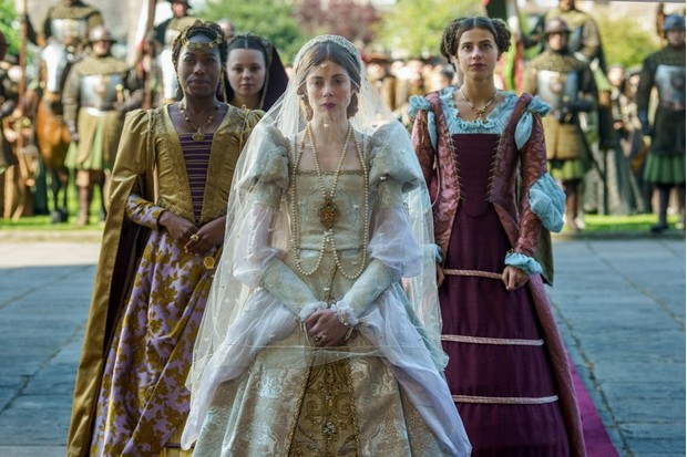 Stephanie Levi-John (Lina), Charlotte Hope (Princess Catherine), Nadia Parkes (Rosa) in The Spanish Princess. (Image credit: Starz)