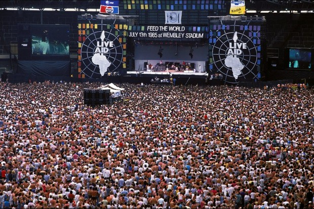 Live Aid stage at Wembley, London, in 1985