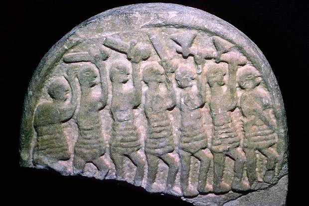 The Lindisfarne Stone showing viking warriors