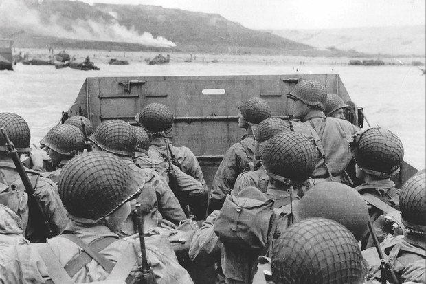 Allied troops on D-Day landing crafts