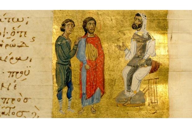An illumination from a Byzantine manuscript depicting Jesus Christ
