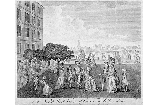 An engraving of figures walking in London's Temple Gardens, c1750. (Photo by Guildhall Library & Art Gallery/Heritage Images/Getty Images)