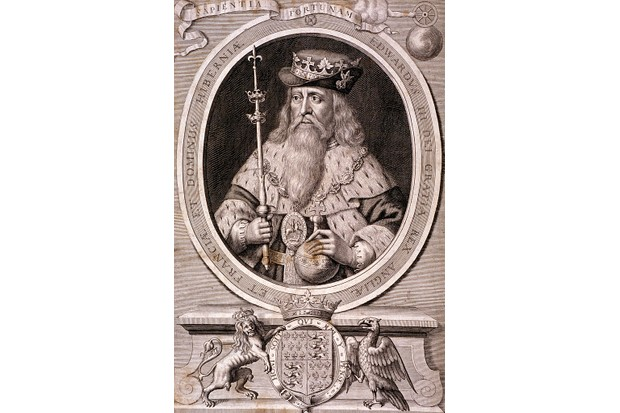 An engraving of Edward III wearing robes, a crown placed over a hat and the badge of the Order of the Garter