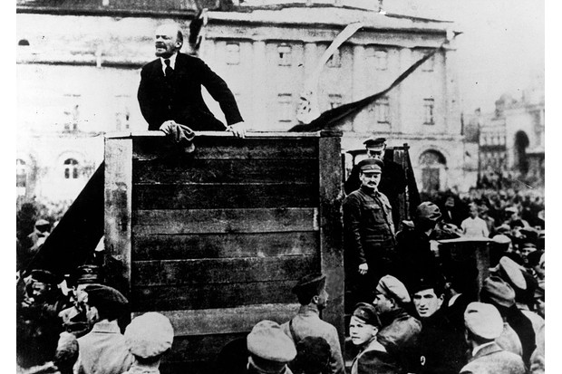 Lenin addresses a crowd