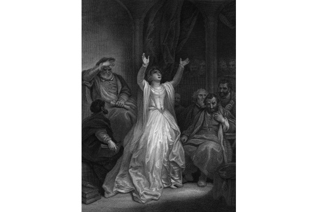 An illustration depicting Anne Boleyn raising her arms in despair upon being sentenced to death for high treason. (Photo by Hulton Archive/Getty Images)