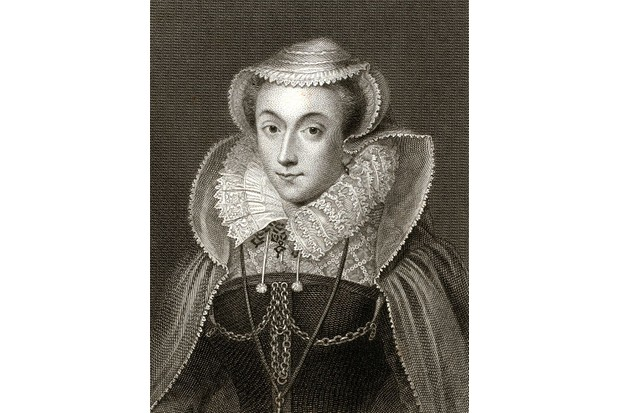 Engraved portrait of Mary Queen of Scots, wearing a hooded cape, chain details on her bodice, 1881. From the New York Public Library. (Photo by Smith Collection/Gado/Getty Images).