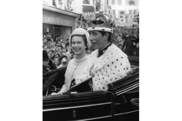 Prince Charles and his mother Queen Elizabeth II in a carriage
