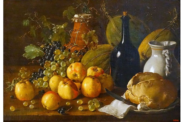 Painting titled 'Still life with Apples, Grapes, Melons, Bread, Jug and Bottle by Luis Egidio Meléndez (1716-1780) Spanish painter. Dated 1771. (Photo by Universal History Archive/Universal Images Group via Getty Images)